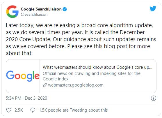 تحديث جوجل ديسمبر 2020